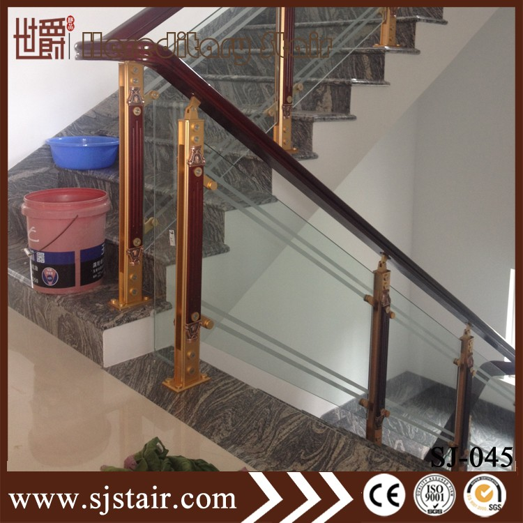 Modern House Wood Handrail Aluminum Barade Interior Gl Stair Railings