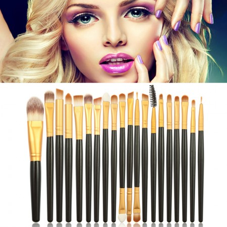 Lots 20pcs Pro Cosmetic Set Soft Powder Foundation Eyeshadow Eyeliner Lip Brushes