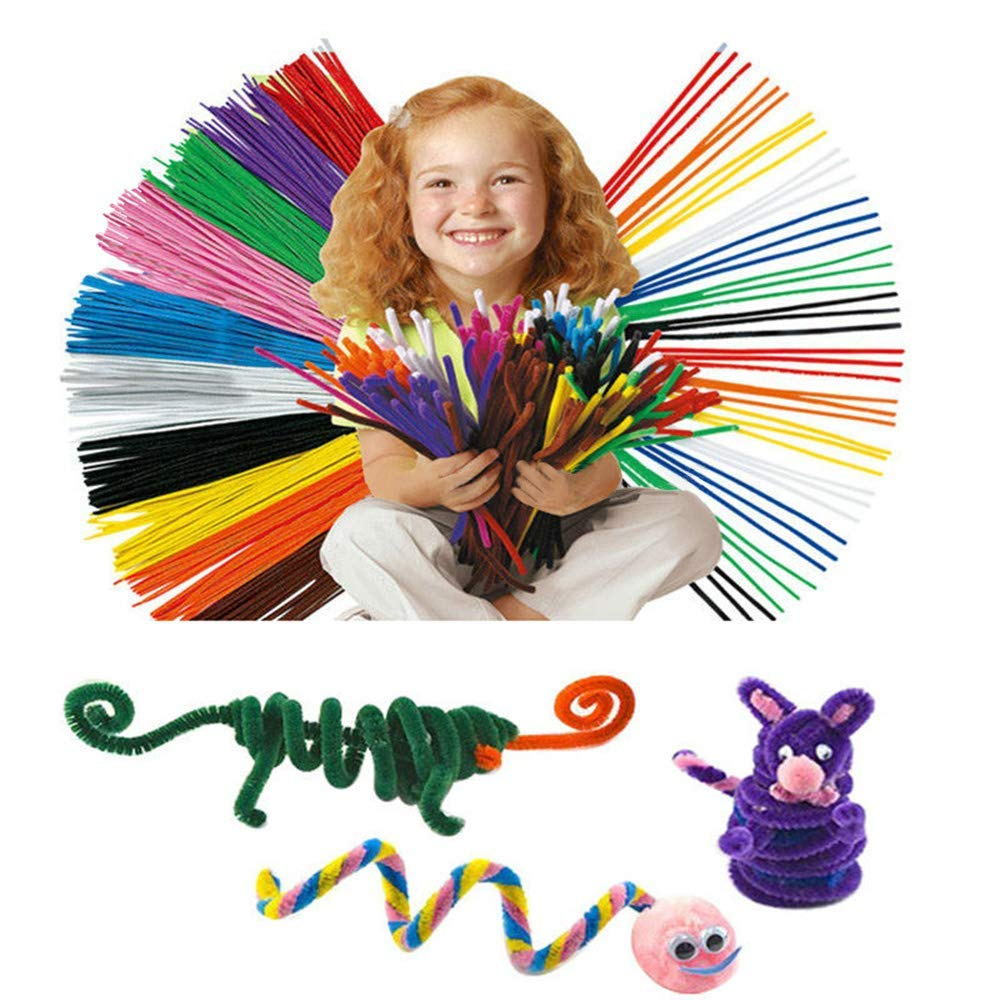 Pipe Cleaners Craft DIY Art Craft Decorations Chenille Stems for Girls Boys 100 Pieces 10 Colors Pipe Cleaners, 250 Pieces Pom Poms and 150 Pieces Wiggle Googly Eyes