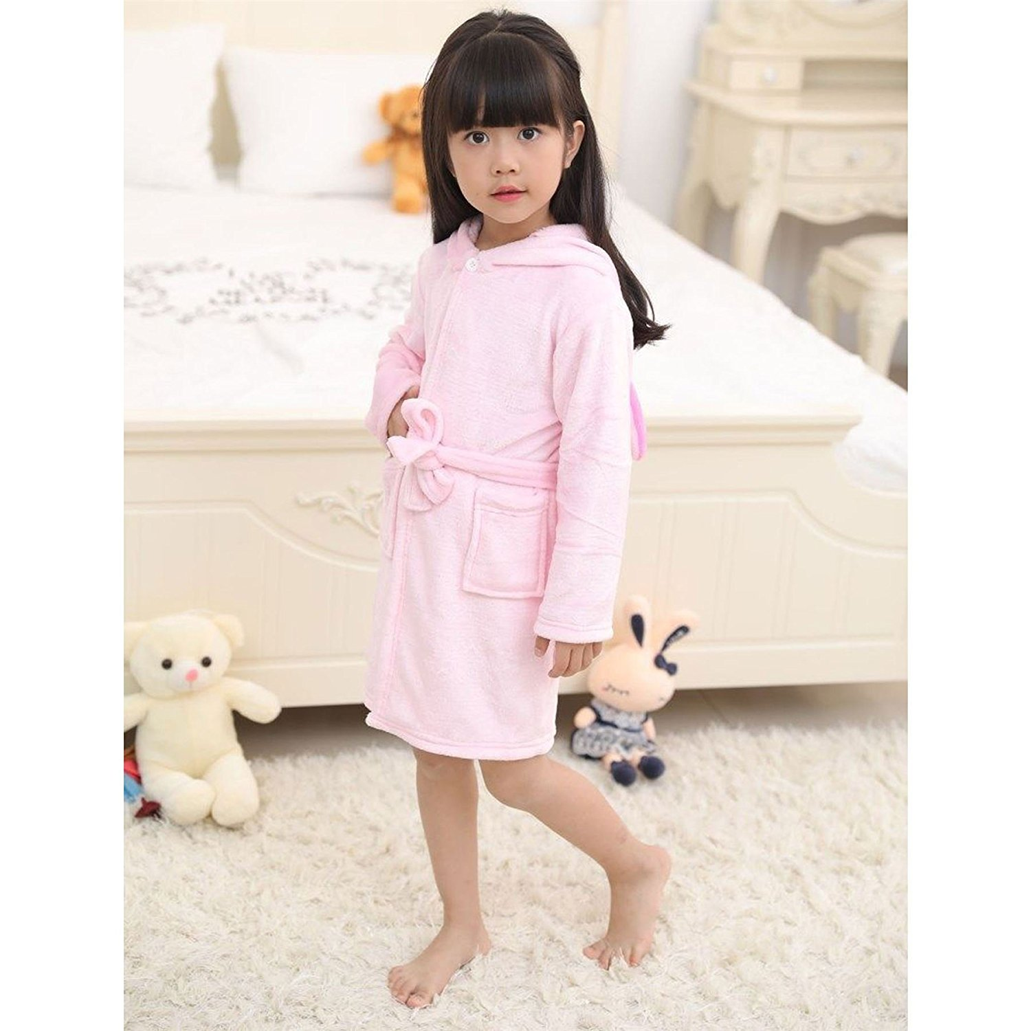ded598d68a Get Quotations · Girls Bathrobe 3D Animal Unicorn Baby Pink Dressing Gown  Fleece Night Loungewear