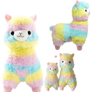 wholesale factory cuddly cute Rainbow Kawaii Alpaca Toy Decor Plush Soft Stuffed alpaca toy