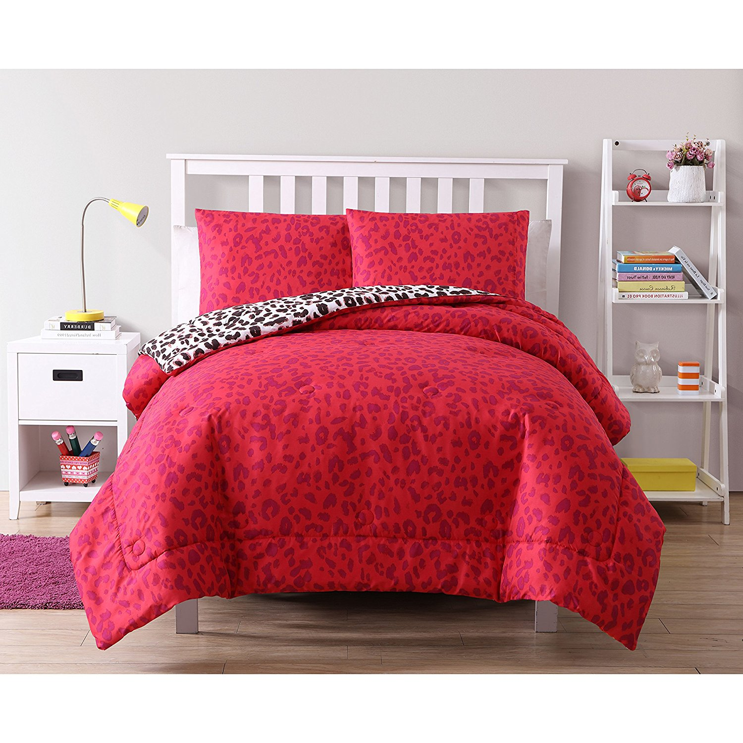 ON 2 Piece Girls Hot Pink Purple Leopard Print Themed Comforter Twin Set, Vibrant Cheetah Floral Printed Bedding, Wild Safari Animal Pattern All Over Orange Flower Pattern, Polyester