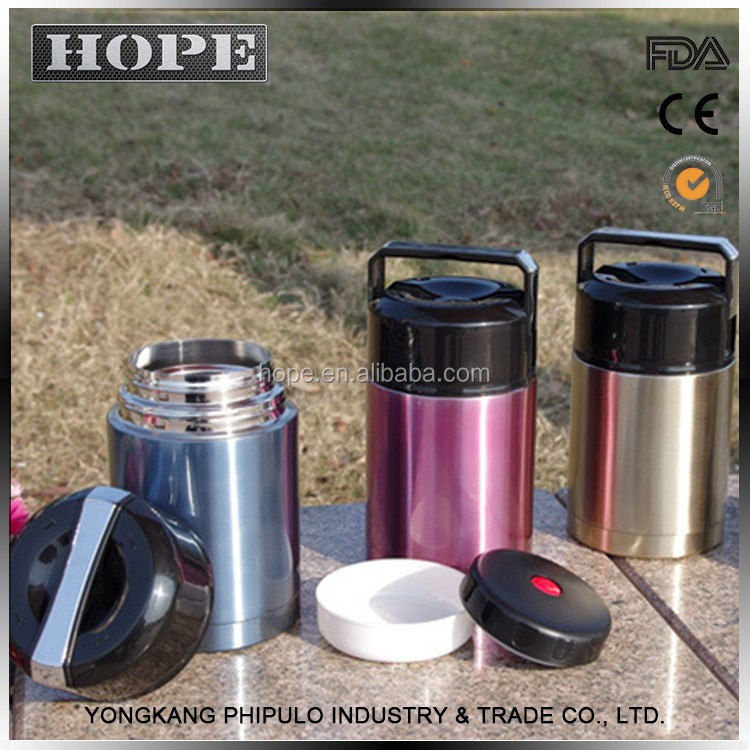 FDA Approved customized logo food lunch box stainless steel vacuum flask