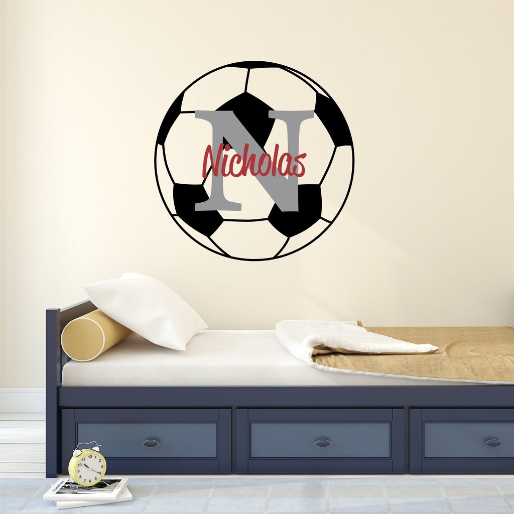 "Nursery Wall Decals Soccer Name and Initial Personalized Name Wall Decal 40"" by 40"", Boys or Girls Nursery Sports Decals, Soccer Wall Decals, Sports Wall Stickers, PLUS FREE HELLO DOOR DECAL"