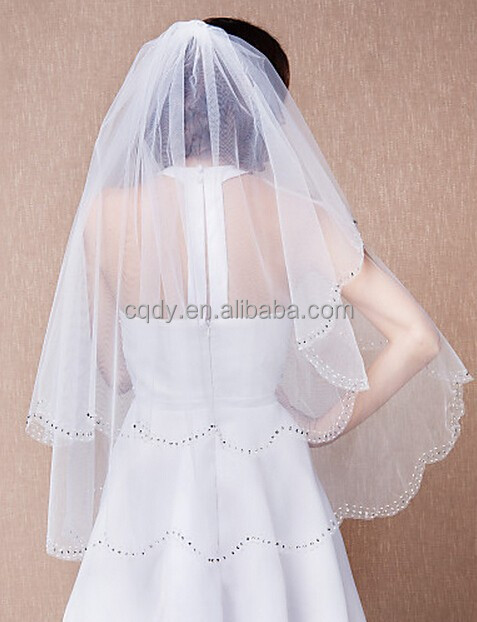 2015 Glittering Two tier Beaded cascade cut Bridal Veil,beautiful wedding veil,available in shoulder to fingertip length veil