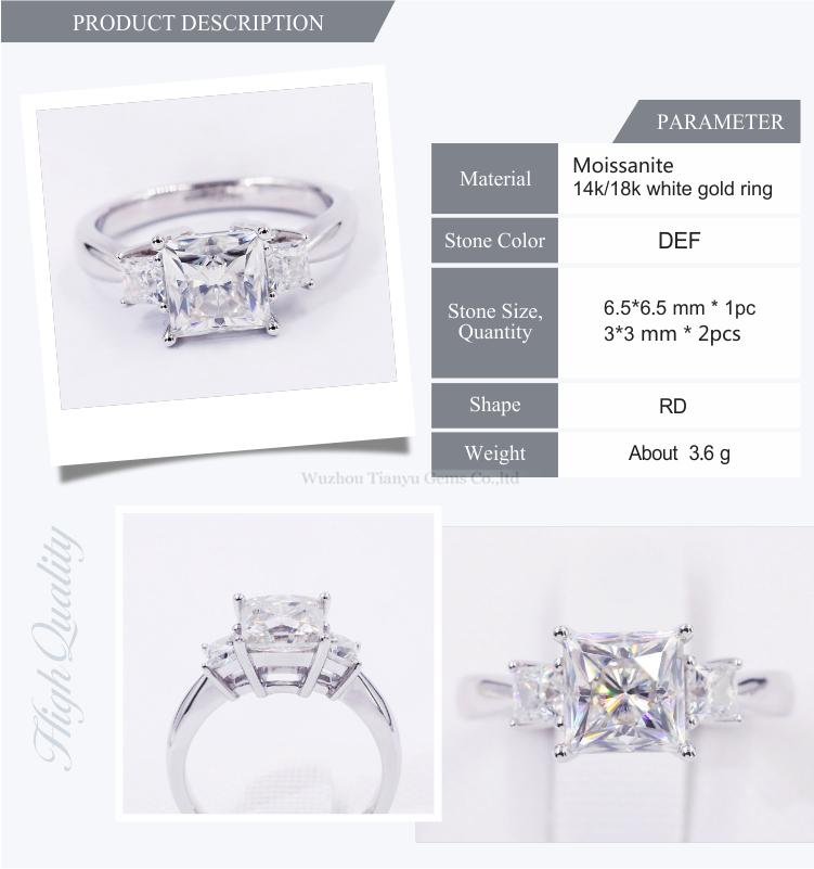 Three Stones Princess Cut Super White Def Color Moissanite Ring In