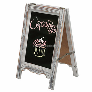 15 inch Rustic Wood A-Frame Double-Sided Chalkboard Easel with Scalloped Bottom, Torched Brown