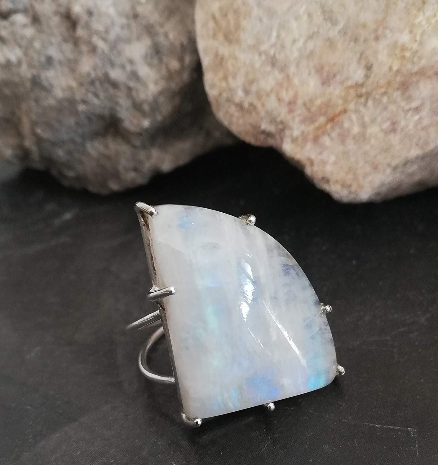 Rainbow Moonstone Ring, 925 Sterling Silver, Birthstone Ring, Triangle Shape Ring, Prong Ring, Touch Stone Ring, Bridesmaid Jewelry, Blue Flash Moonstone, Open Stone Ring, Meditation Ring,Fashion Ring