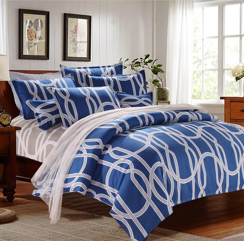 comfortable bedding sets cotton stripes bedding set duvet cover bed sheet pillowcases 4pcs queen. Black Bedroom Furniture Sets. Home Design Ideas