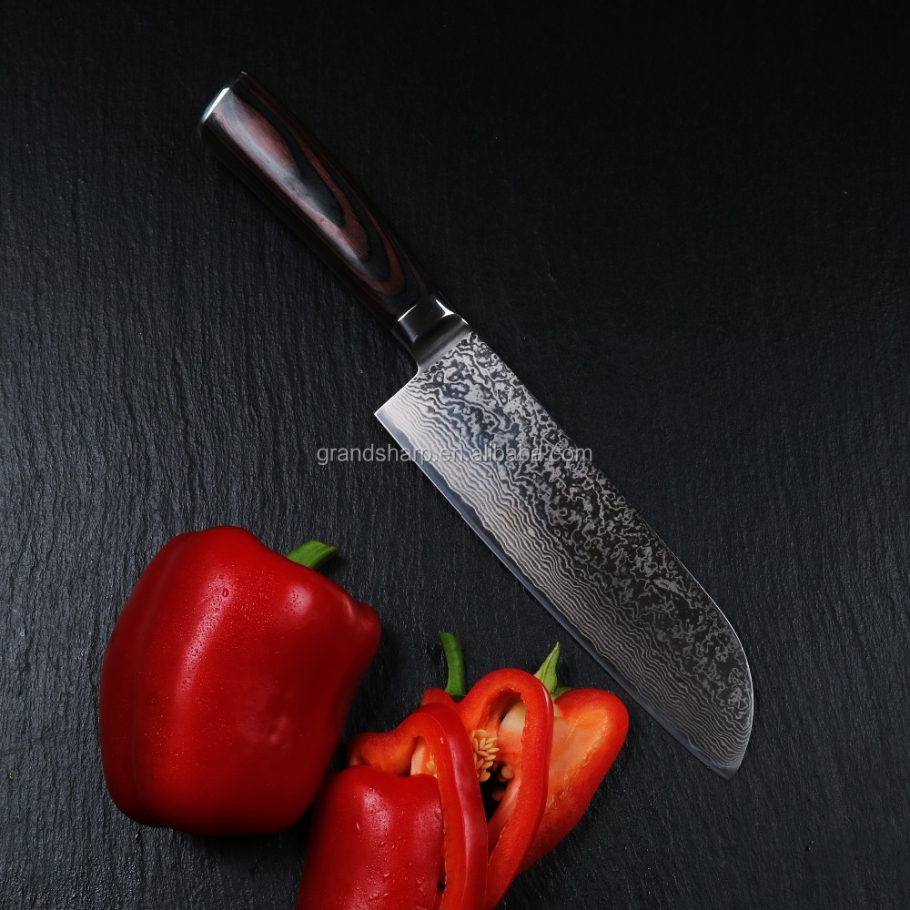Santoku Damascus knife with double forged Pakka handle kitchen knife