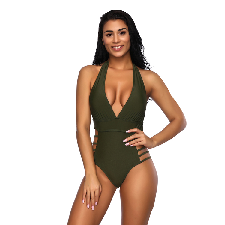 Wholesale Deep V Hanging Neck Hollow Swimsuit One Piece Swimwear