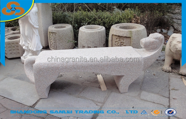 outdoor patio carved natural stone animal dog bench for sale