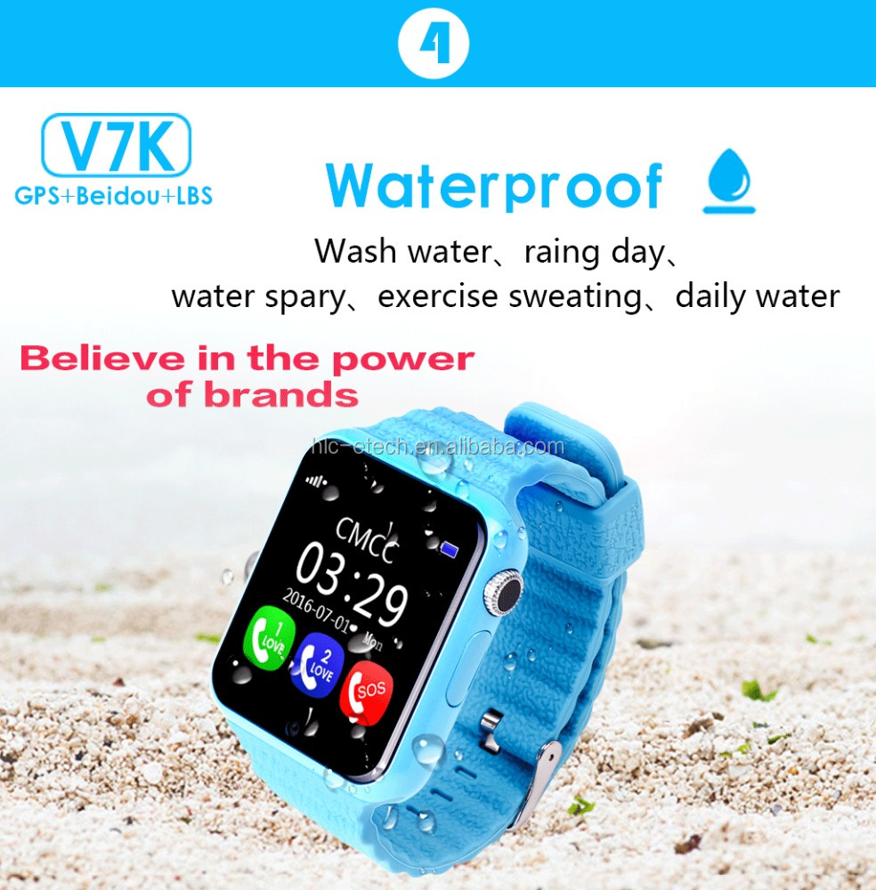 lovely design smart watch V7K with bluetooth GPS support <strong>SIM</strong>/TF Card Smartwatch For Kids Safe