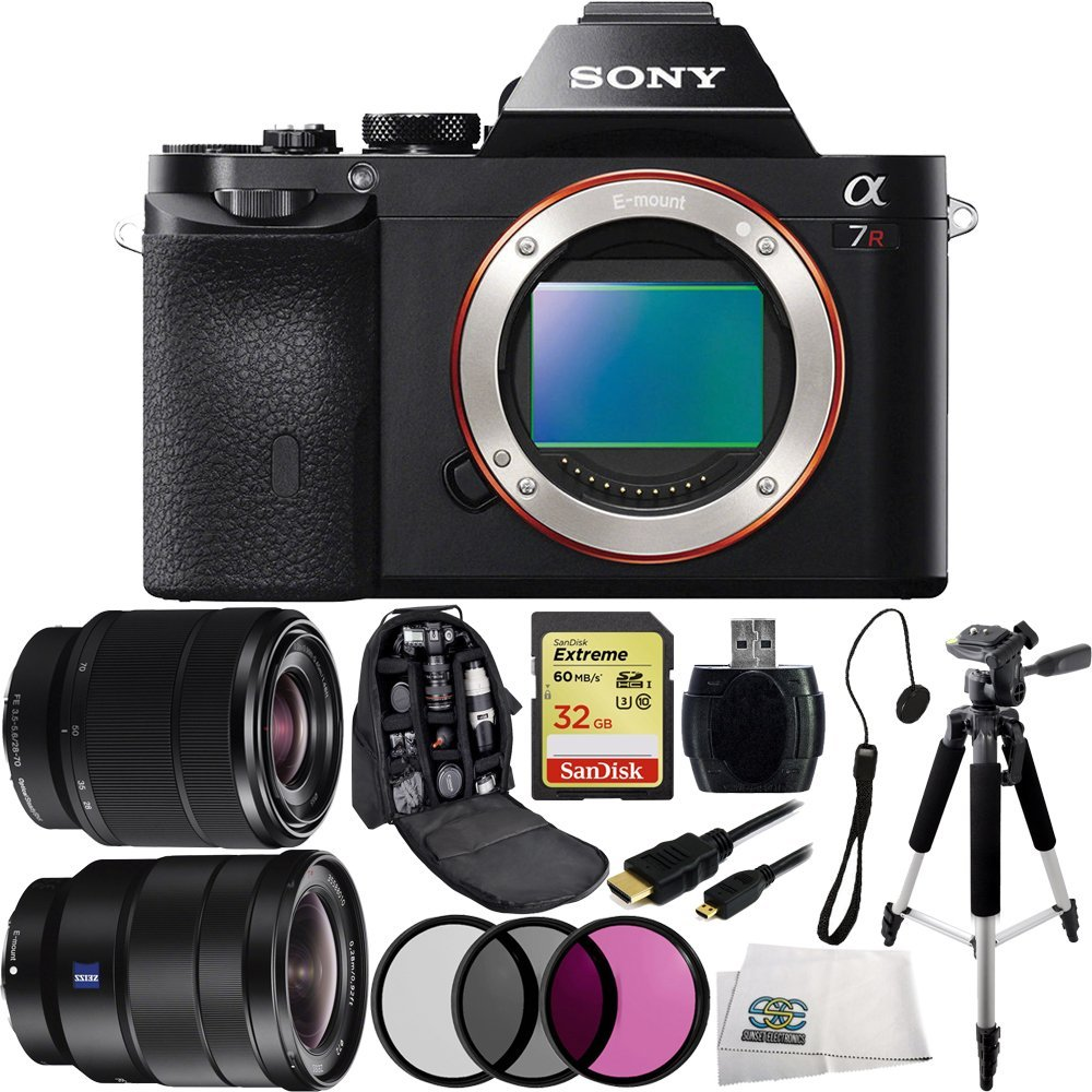 Sony Alpha a7R ILCE-7R/B ILCE-7R ILCE-7 Compact Full Frame Mirrorless Camera + FE 28-70mm f/3.5-5.6 OSS Lens + Sony 16-35mm Vario-Tessar T FE F4 ZA OSS E-Mount Lens + 32GB Bundle 10PC Accessory Kit. Includes SanDisk Extreme 32GB UHS-I/U3 SDHC Memory Card (SDSDXN-032G-G46) + 3 Piece Filter Kit