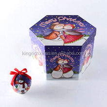14pcs 70mm Blue and White Decoupage Christmas paper wrapped Ball