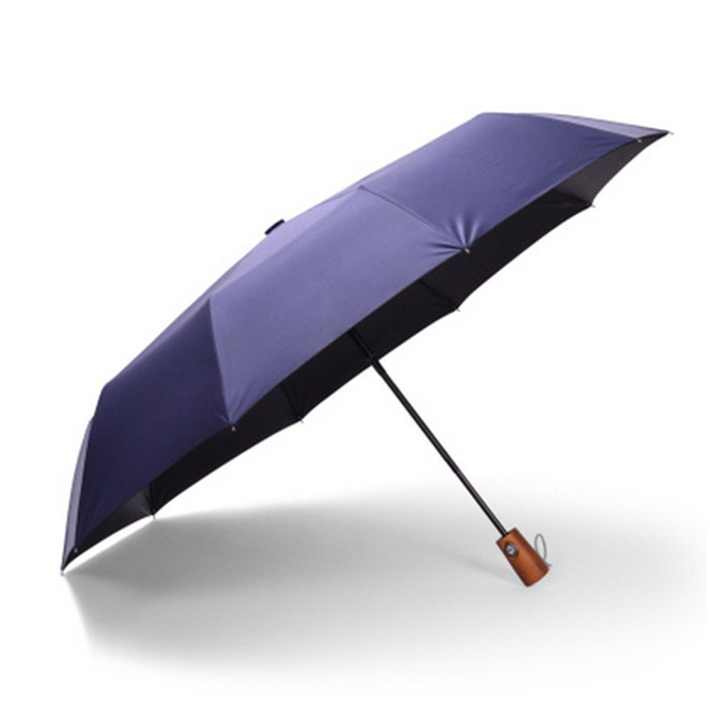 "Orose Travel Umbrella - ""Dupont Teflon"" 210T Finest Waterproof Fabric,Windproof, Reinforced Canopy, Ergonomic Pure Wood Handle, Auto Open/Close (Blue)"