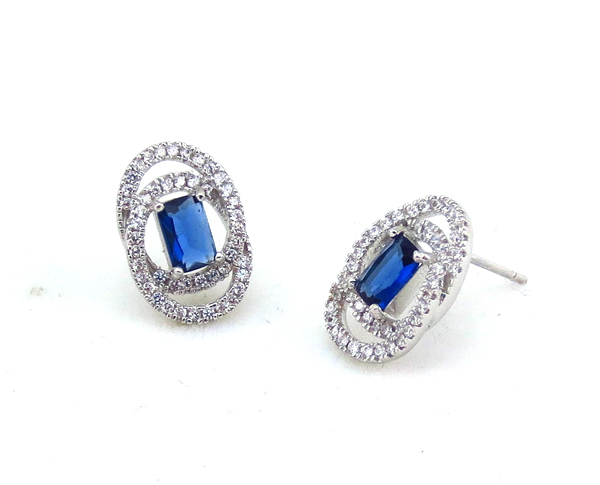 minimum price infinity square sapphire zirconia oem real love earring studs