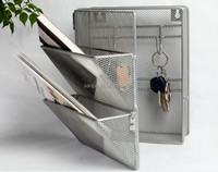 Modern Metal Mesh Office And Home Organization Wall Mounted Sundry Storage Rack Magazine Holder