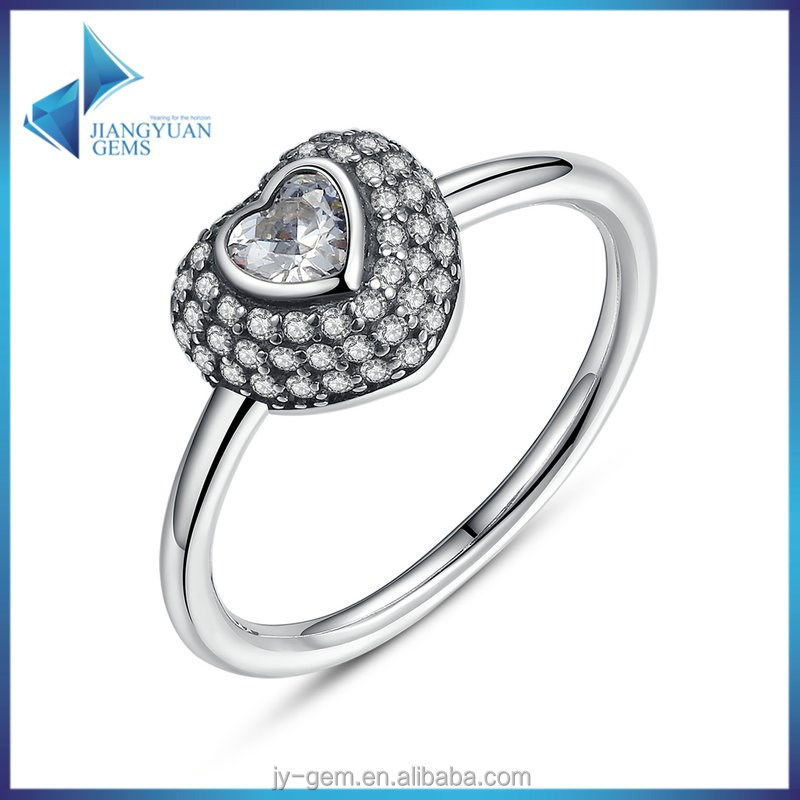 PA7168 Fashion 925 Sterling <strong>Silver</strong> In My Heart Pave Ring with Clear Cubic Zirconia