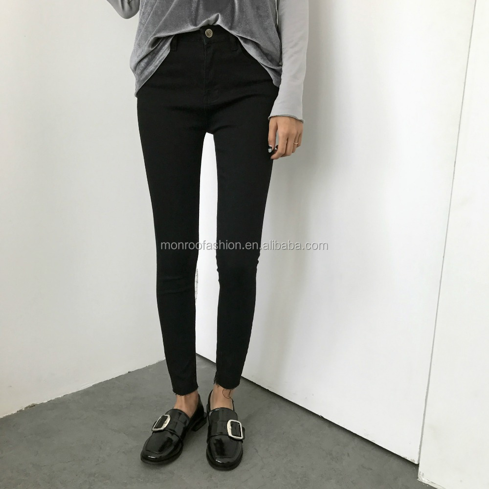 Monroo 2017 pure color pencil jeans wholesale lady tight legging pants