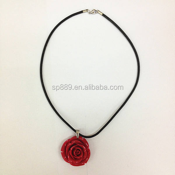 Alibaba best selling charm resin red rose necklace epoxy jewelry fashion styles Dongguan