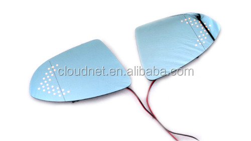 Blue Tinted Aspherical Side Mirror Glass With Turn Signal Light For Golf MK7