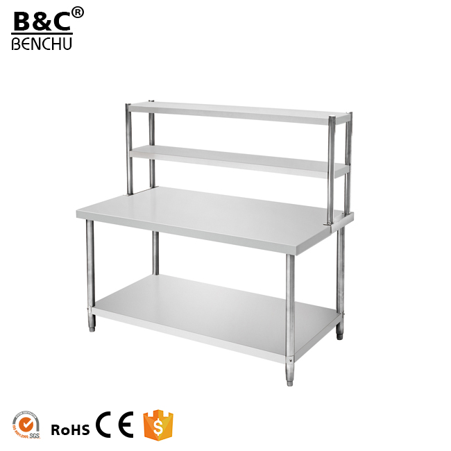 Assembling Stainless Steel Kitchen Workbench Worktable With Top Shelf