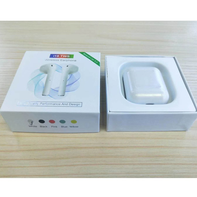 2019 New Arrival Colorful Earphones i18 TWS BT 5.0 Siri Support Automatic Pairing Wireless Earbuds фото