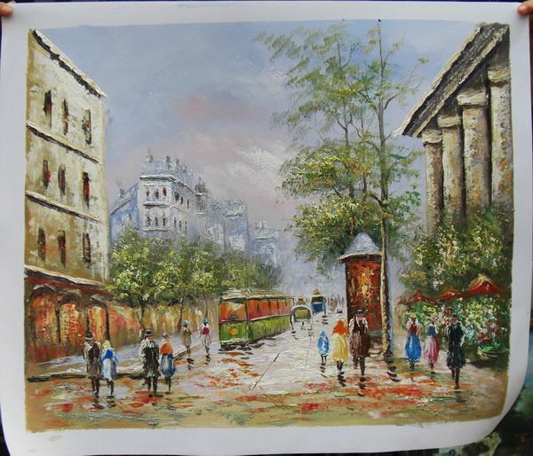 Acrilico dipinti di paesaggio Parigi Street art dipinti ad olio su ...