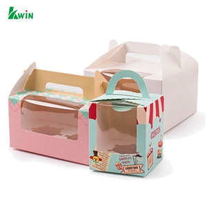 Restaurant Print Small Gift Card With Plastic Window Packaging Food Grade Cardboard Paper Box For Cake