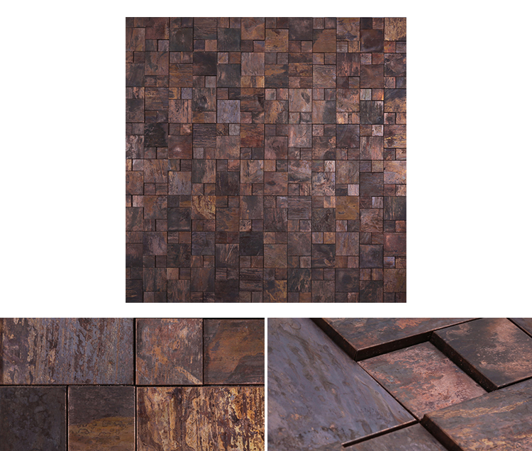 luxury rustic bathroom tile design foshan antique rustic mosaic Bronze wall tile 3d copper Bronze square brushed metal mosaic
