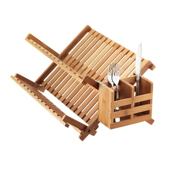 bowl plate dish rack with bamboo utensil holder