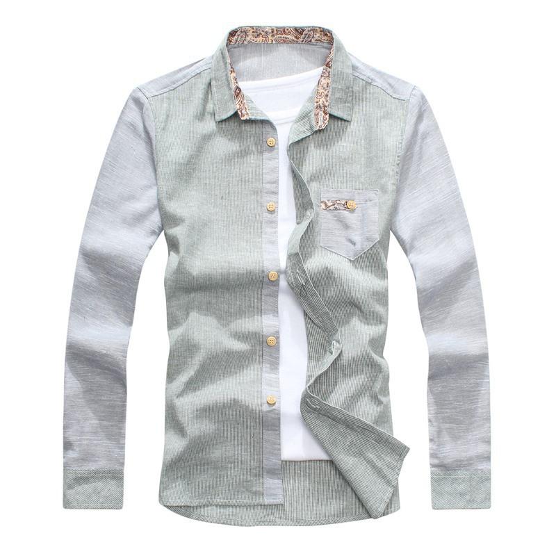 92c060bd26e8 Get Quotations · Korean Flower Print Collar Mens Shirt Long Sleeve Slim  Summer Patchwork Linen and Cotton Shirts With