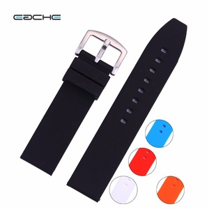 New Arrive Silicone Rubber Watchband With Stainless Steel Buckle Different Colors 18mm 20mm 22mm 24mm