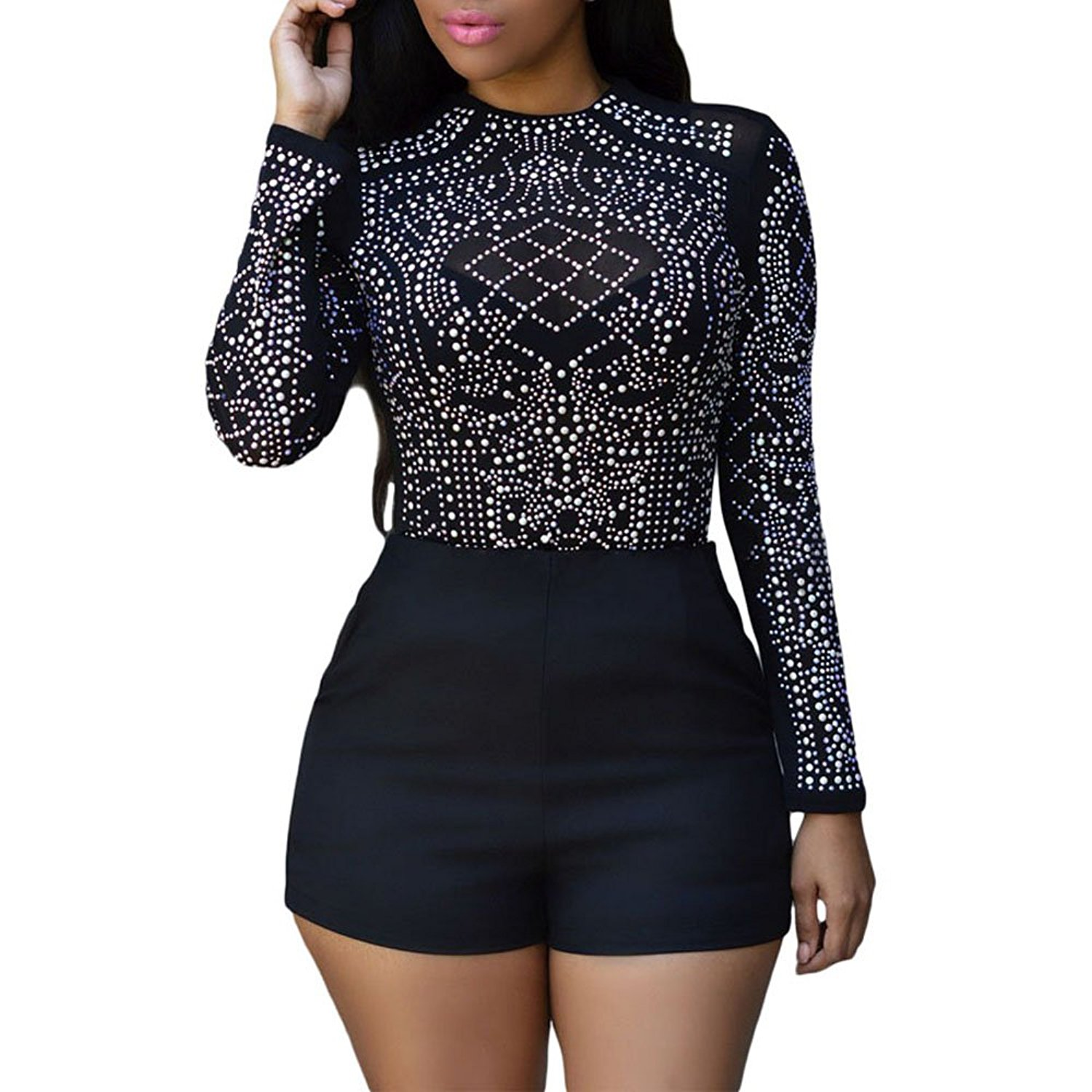 Kalin L Women Sexy Clubwear Mesh Sheer Stones Studded Long Sleeve Tops Shirts Blouse