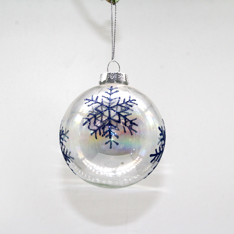 Wholesale 8cm Transparent Christmas Ornaments Clear Glass Christmas Ball