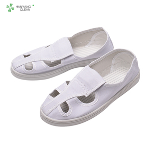 Cleanroom antistatic white four holes canvas safety shoes ESD shoe for food industry