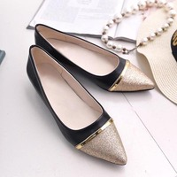 New design laser stylish flats with frosted shining toe