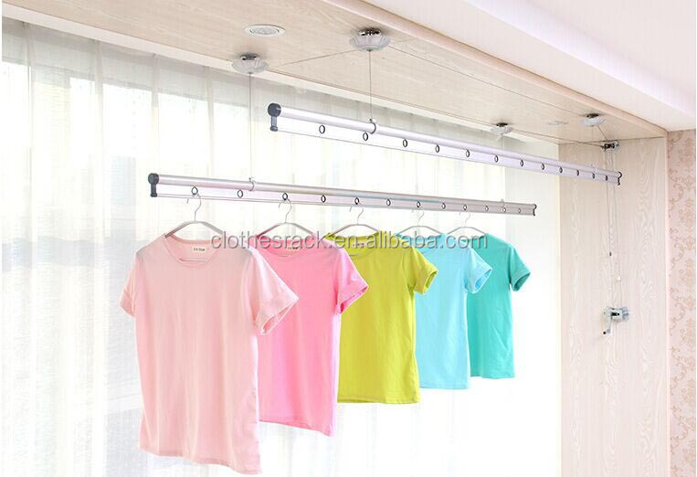 Hand Lifting Ceiling Wall Mounted Clothes Rack Aluminum