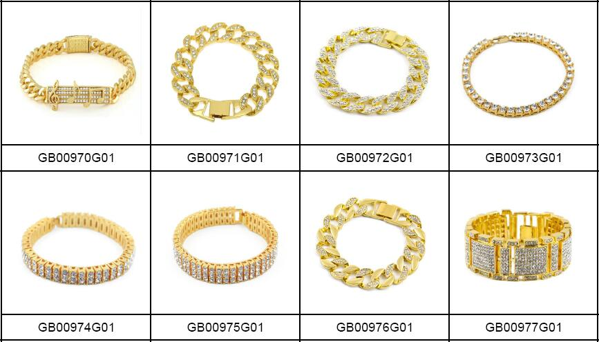 Mens Hip Hop Bling CZ Jewelry Accessories 24K Gold Bracelet