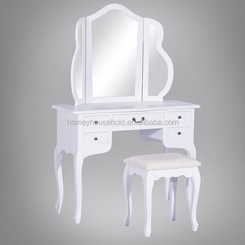 Italy Style 5 Drawers Mirror Stool White Gloss Dressing Table Product On Alibaba