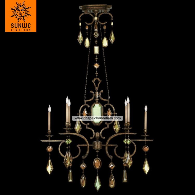 11 years professional 6 lights contemporary steel crystal candle chandelier with beautiful bronze finish