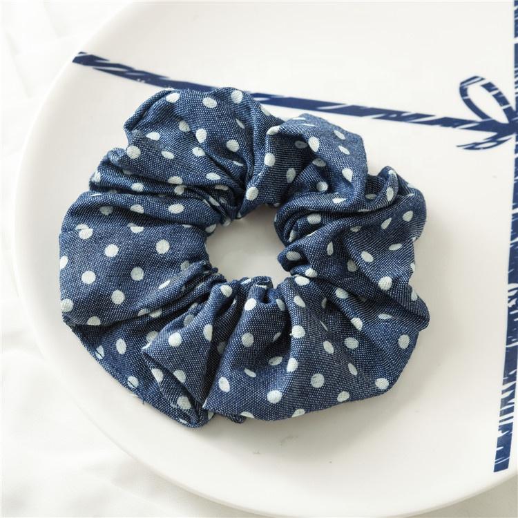 2019 New Denim Star Stripes Custom Multicolor Hair Scrunchies Elastic Tie,Fashion Custom Women Soft Velvet Elastic Hair Tie