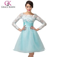 Grace Karin Nice Girls Dresses Short Prom Dresses With Long Sleeves CL6128