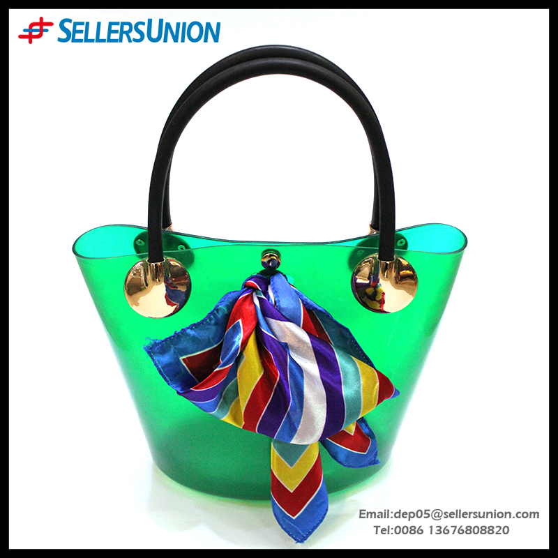 2016 Factory hot selling PVC Clean Color Simplify style high-capacity women shoulder bag with silk