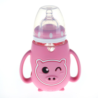 new design albo 180ml glass pink milk feeding new born baby bottle sets