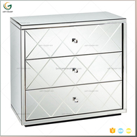Hot Sale Modern Design Mirrored Pedestal Cabinet 3 Chest Drawer