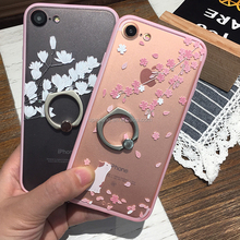 Transparent Creative mobile phone case with stand ring plum blossoms phone case for iPhone