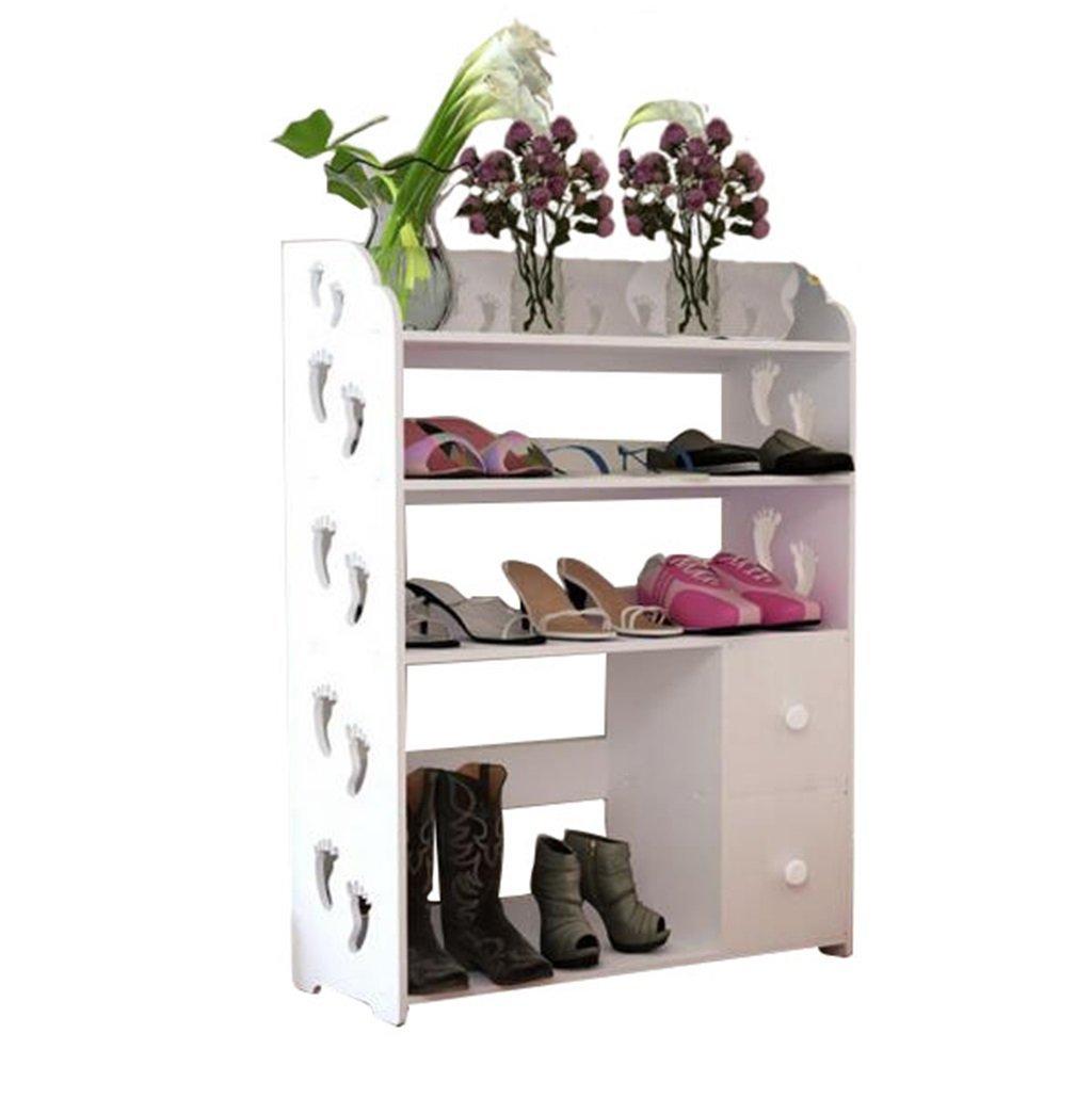 AIDELAI shoe racks Shoe Rack Cabinets Creative Carvings Boots Organiser Shelves Multifunctional Dustproof Multi Tiers With Drawer Combination Of Shoe Racks (White/602481)