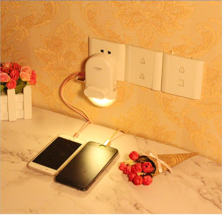 safe sensor Night light smart 2 port USB adapter charger USB